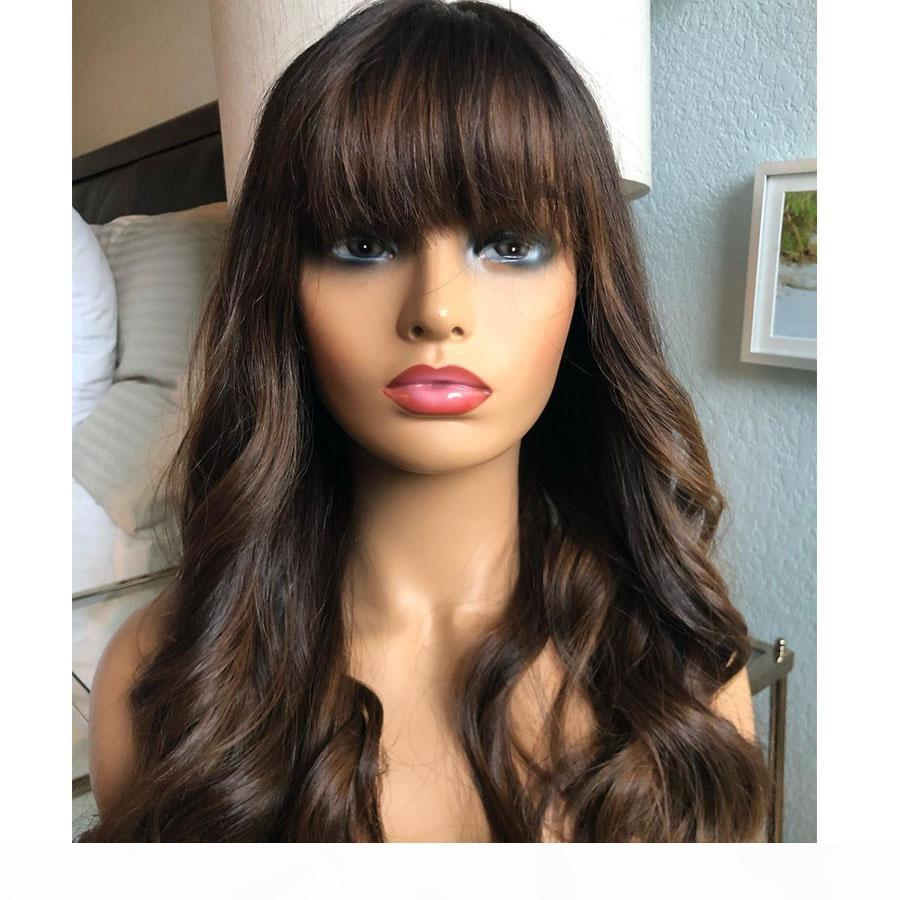 Natural Black Wavy Human Hair 13x6 Lace Front Wigs with Bangs 130-180Density 360 Lace Frontal Virgin Human Hair Wigs Fringe wig Full Lace