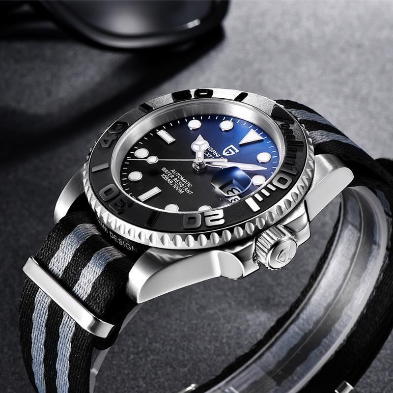 Mecânica Aço PAGANI PROJETO Top Marca Negócios Assista 40MM Sapphire vidro automático inoxidável Mergulho relógio impermeável Men NH35