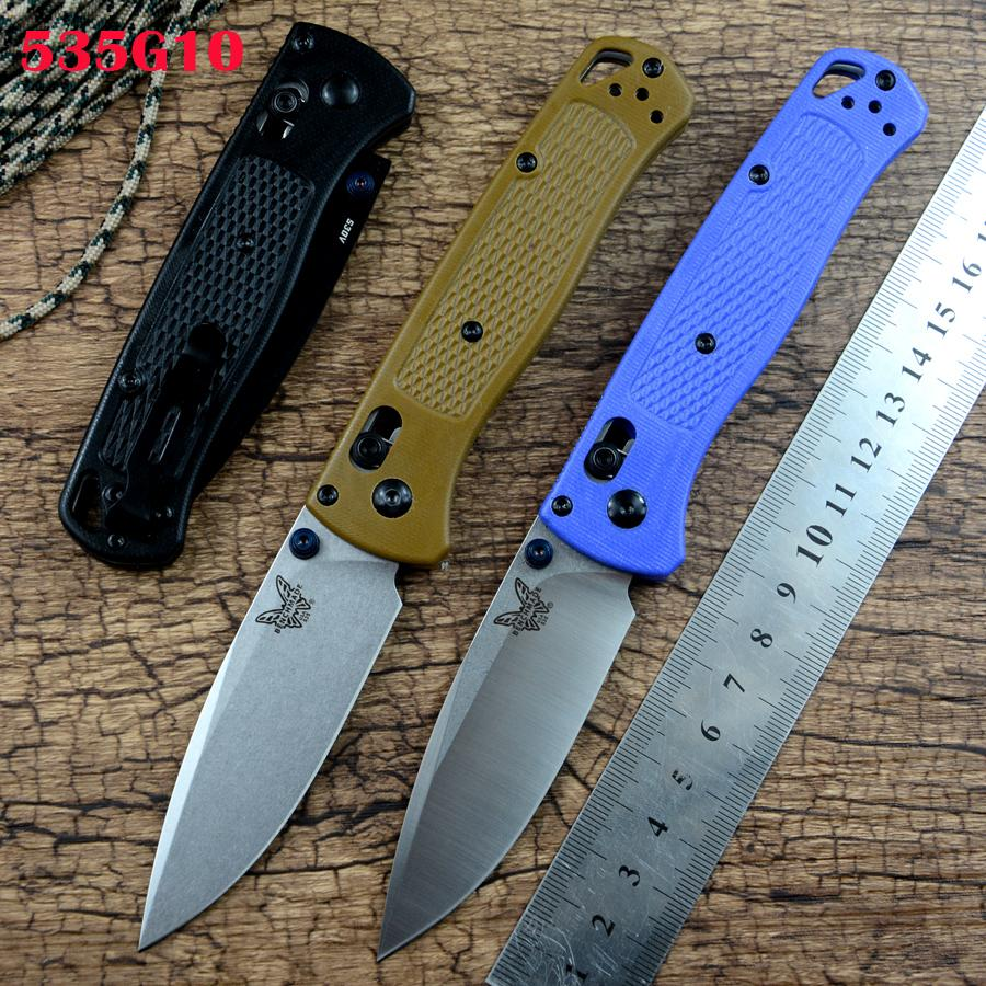 Nuovo 535 Bench Coltello pieghevole Made Pieghevole 440C Blade Brass Lavastore G10 Maniglia 3 colori Camping da esterno Caccia Survival Pocket Knife Tools Strumenti EDC