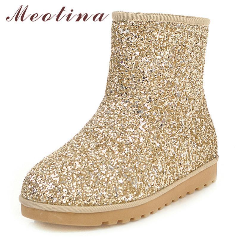 Meotina Winter Snow Boots donne stivali caldi peluche glitter piatto caviglia Bling rotonde Scarpe a punta signore oro rosa Taglie 34-43