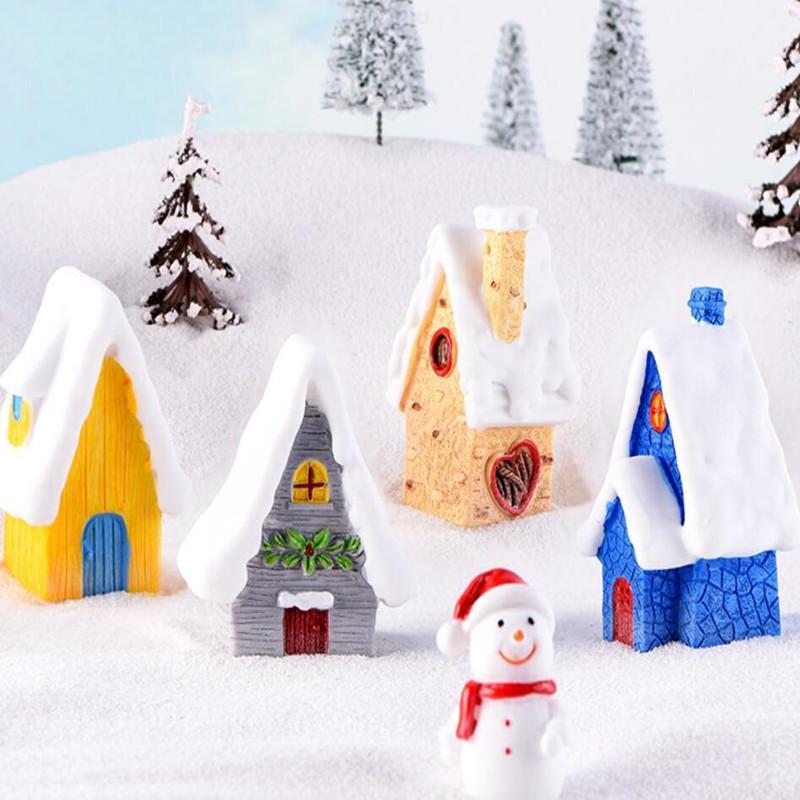 DIY accesorios de invierno Casa de la nieve Estatuilla miniatura de dibujos animados de Navidad Cottage modelo hada del jardín de muñecas de decoración del hogar