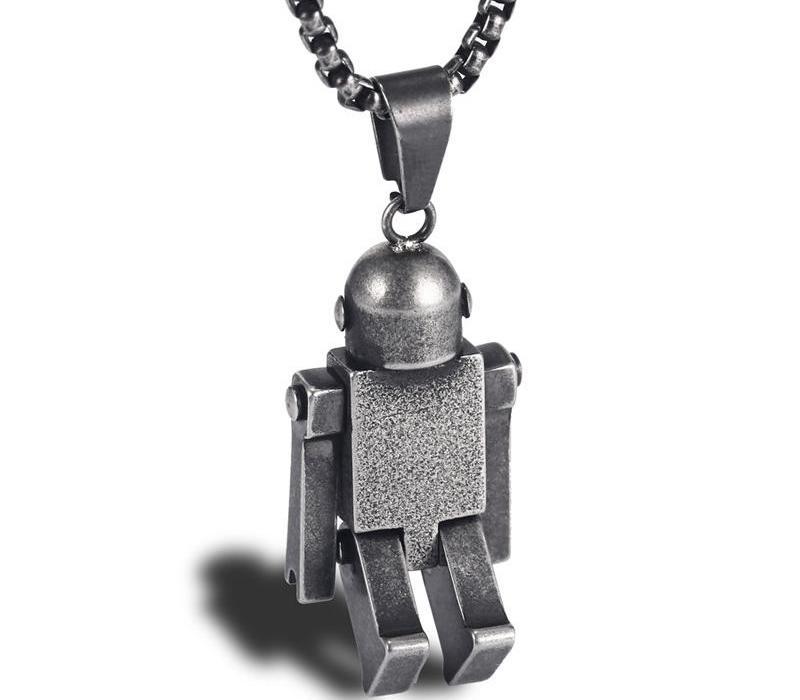 Festival Parti Erkekler Women99 Yeni Moda kolye Retro Hareket robot kolye Paslanmaz Çelik 24Inch Zincir Bağlantı Takı