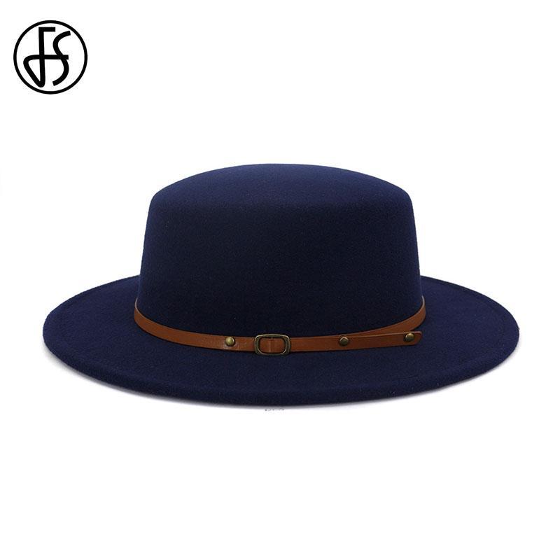 FS 2020 Femmes Hommes large BriM feutre Bowler Hat Fedora style britannique Automne Hiver Laine Flat Top Party Hats Jazz élégant Cap