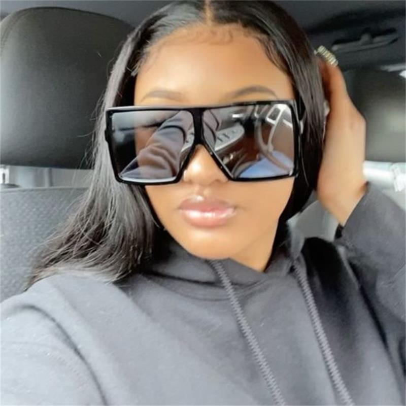 Mirror Square Sunglasses Vintage Oversized Shades Big Frame Sun Glasses For Women Men Summer Vintgae Retro Driving Glasses Gvige