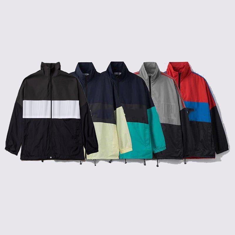 편지 인쇄 패션 코트 독특한 스타일 히트 컬러 윈드 브레이커 남자 여성 자켓 블랙 outwear 힙합 streetwear
