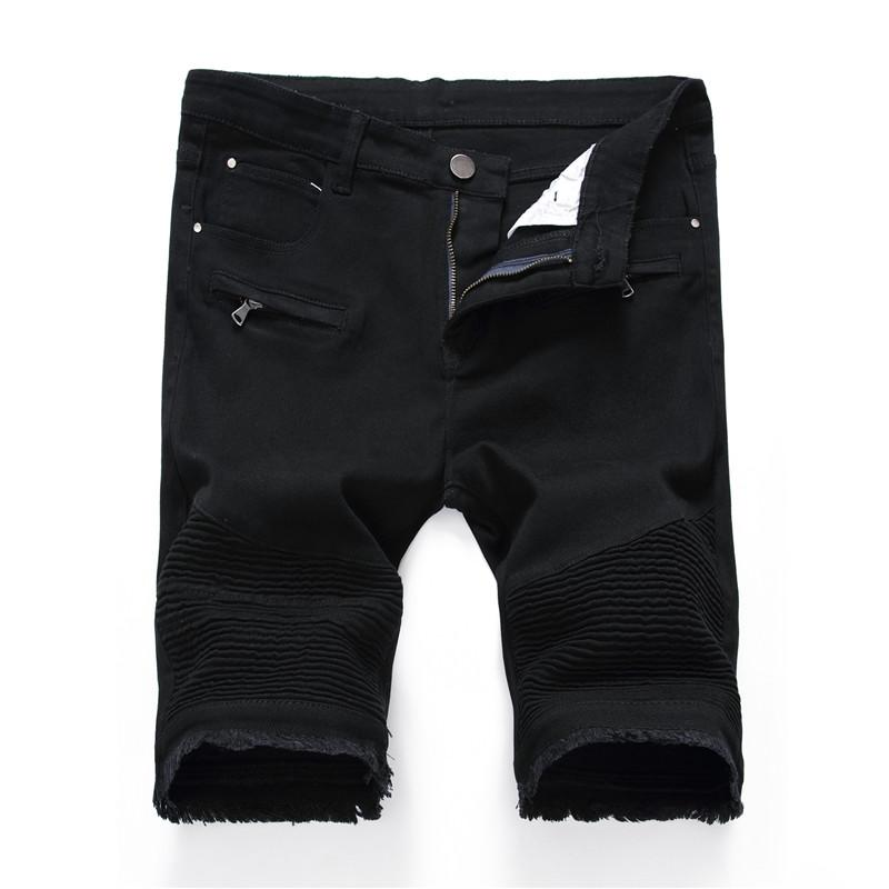 Джинсовые шорты Мужские джинсы лето Stretch Slim Fit Короткие джинсы мужские дизайнер Хлопок Повседневный Проблемные Black Jean колен шорты