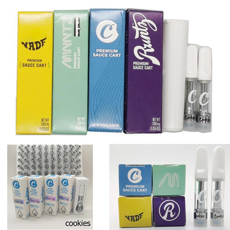 Новые Runtz Box Упаковка Печенье Тележки High Flyers 1мл Vape Картриджи 0,8 мл Слейте Pen Испаритель Голограмма наклейки Kit Электронная сигарета