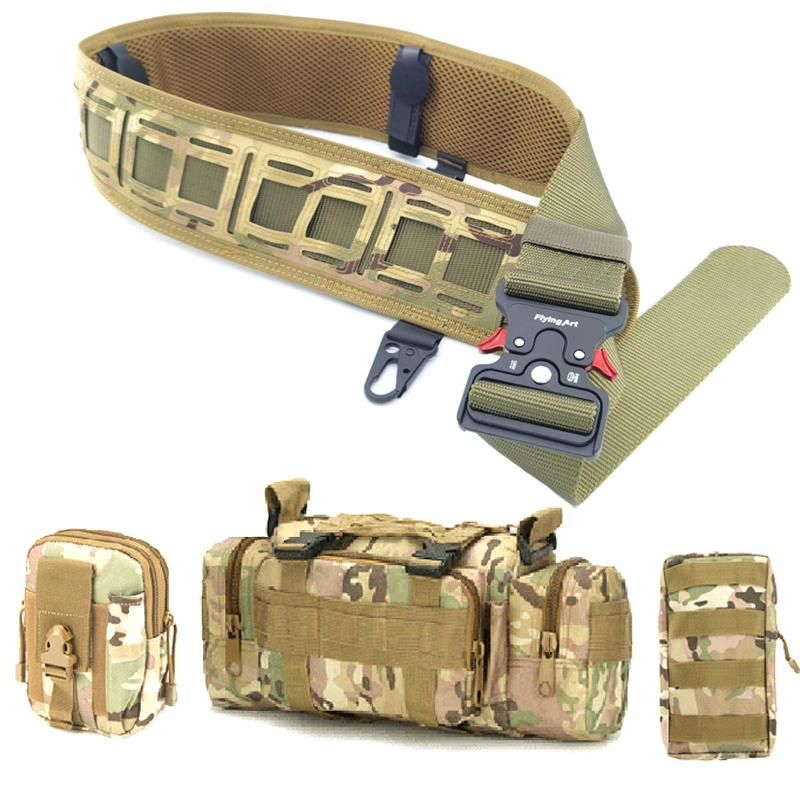 Molle Tactical Belt War Game Battle Nylon Girdle Adjustable Training Waist Support CS Combat Hunting Bag Carrier Belt