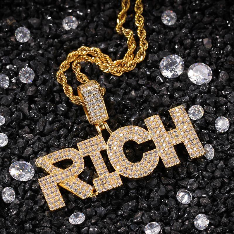 Hip Hop collana Nightclub Lettera ricco di box ciondolo Raffreddare Hiphop dei monili fuori ghiacciato 18K ha placcato Mens collane con pendenti