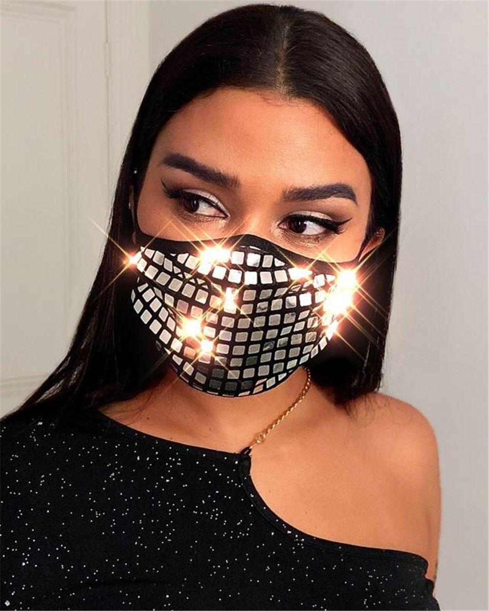 2020 personnalité de sequins décoré à deux couches d'argent masque d'or sequin rouge treillis masque masques de protection réutilisables lavables