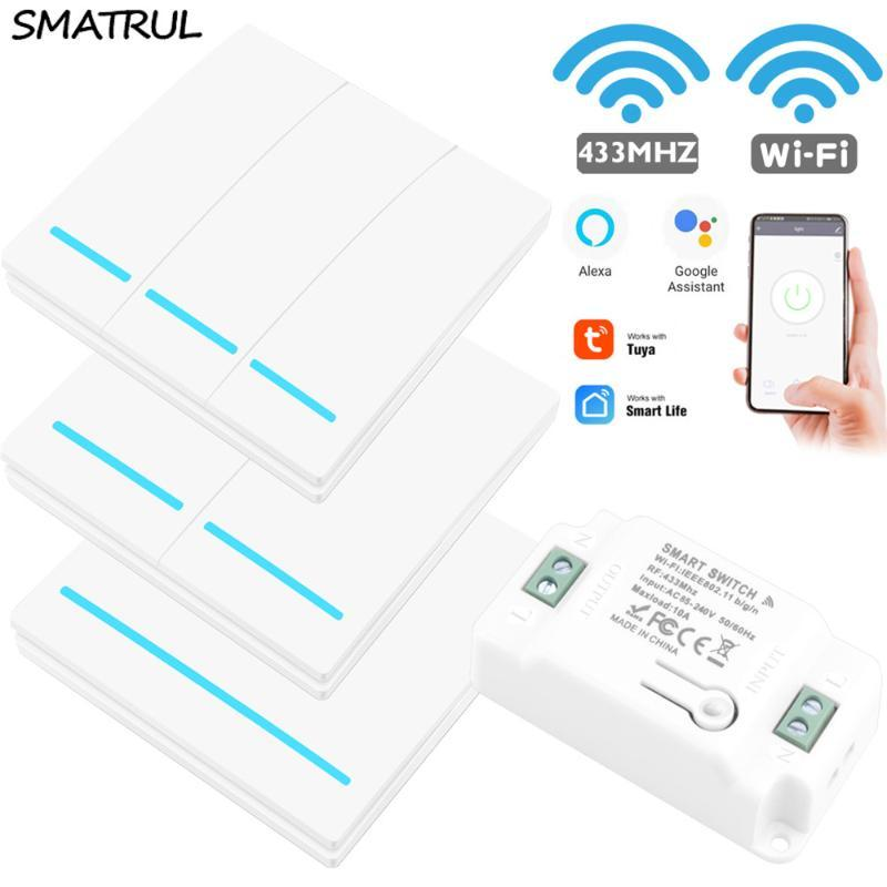 SMATRUL Переключатель Light Смарт Life Туя APP WiFi толчок RF пульт дистанционного управления 433Mhz Стена Реле Таймер модуль Google Главная Amazon Alexa