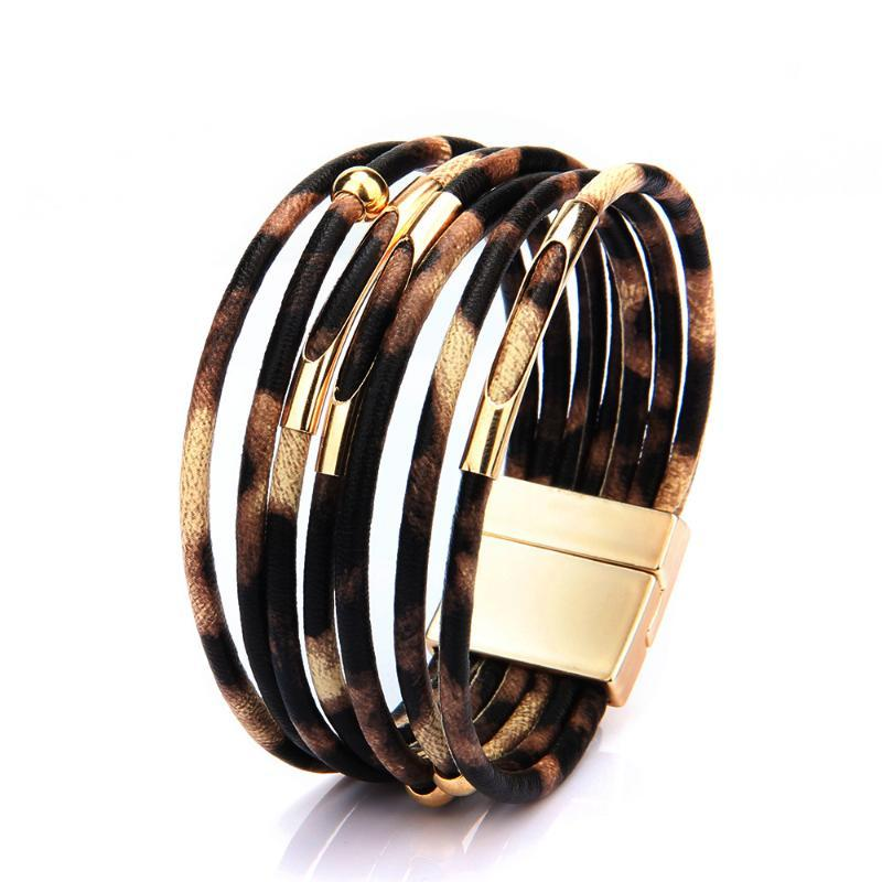 Leopard Leather Bracelets For Women Magnetic Buckle Wristband Multilayer Wrap Female Bracelet Bangle Jewelry Gifts pulseras 2020