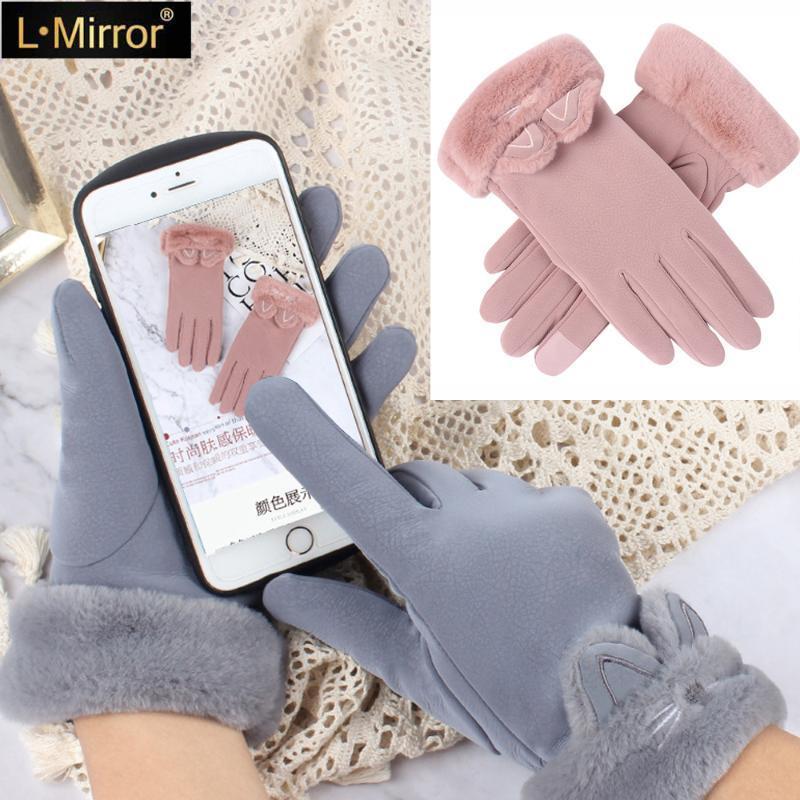 خمسة أصابع قفازات l.mirror 1pair النساء الشتاء مع رقيق الفراء صفعة الدافئة الصوف بطانة الشاشة الحرارية لمسة