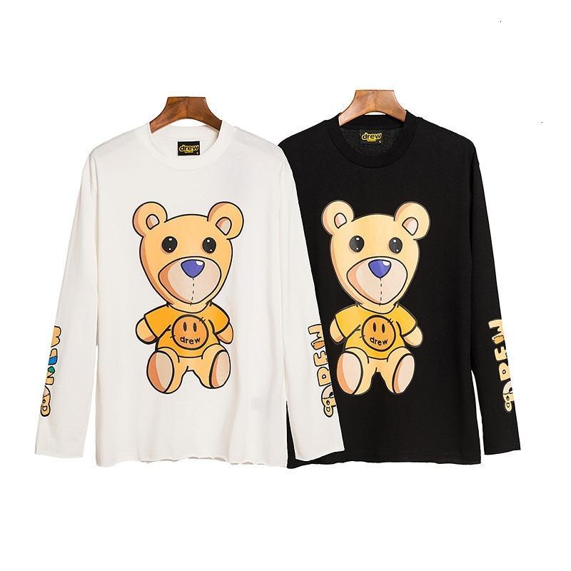 Biebochao DREW teddy bear smiley face pattern T-shirt spring and autumn thin long sleeve JZ91