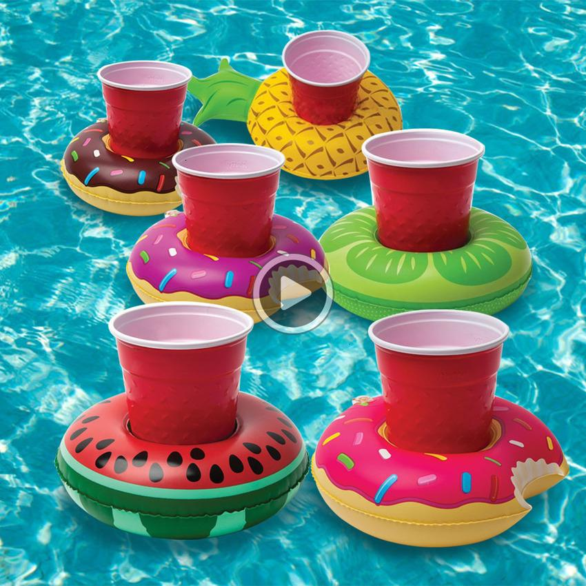 Donut Pool Drink Holder Floats Pine Watermelon Kiwi Floating Iatable Cup Holders for Pool Party Decorations