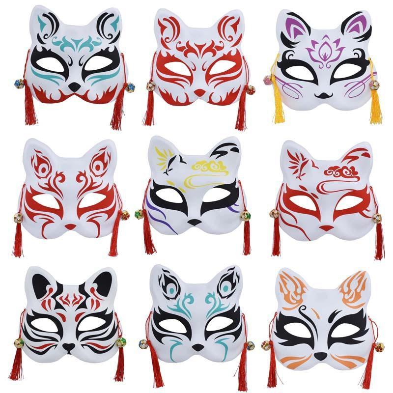 Dipinti a mano Maschere giapponese Fox Cosplay Masquerade Festival Squisito metà Maschere accessori per la decorazione di Halloween per il partito Masquerade