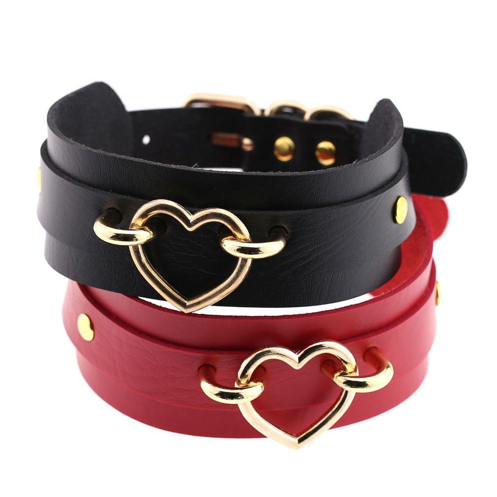 Collana girocollo in pelle gotico gioielli-PU per le donne Oro Cuore-Ring Punk Rock regolabile nero del choker del collare Cosplay Multi Color