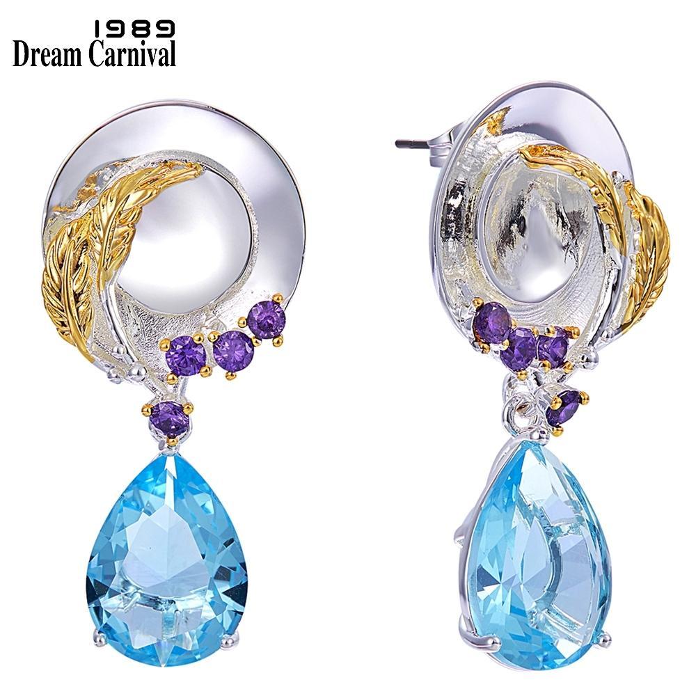 DreamCarnival1989 Original Delicate Feminine Earrings for Women Ladies Dress-up Look Blue Tone Cubic Zircon Unique Jewels WE3991 200923
