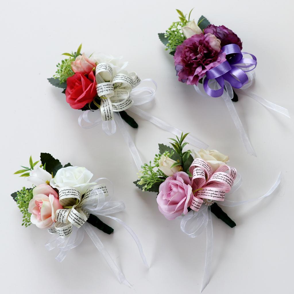 Corsage Romántico Flor de seda Groomsman Multi-Color Rose Corsage