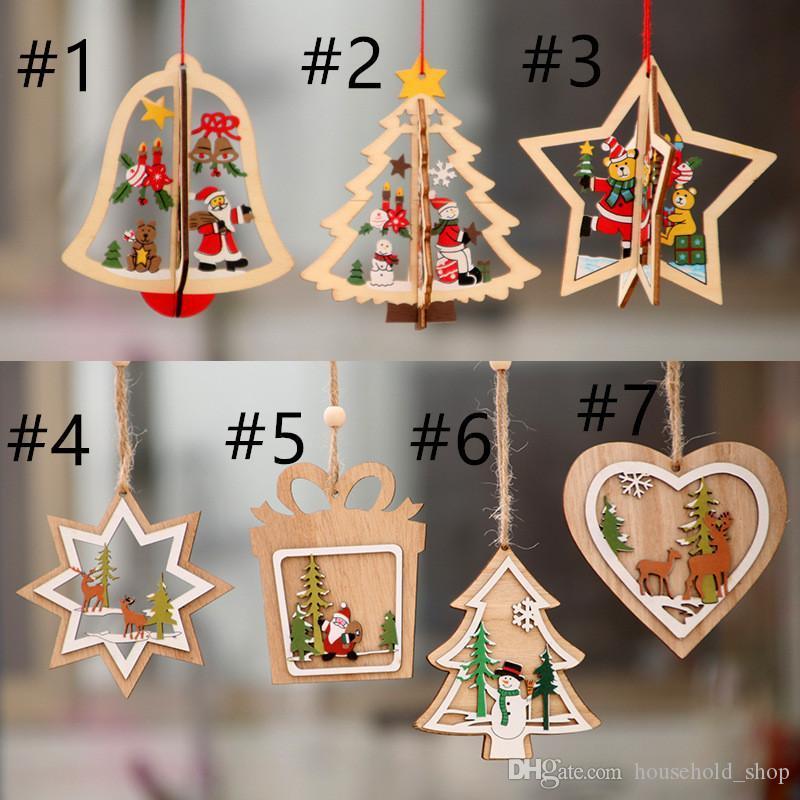 Decoraciones de Navidad adorno de Navidad árbol de madera pequeño colgante colgante de regalo campana de estrella de cinco puntas de madera para el FY7172 niño