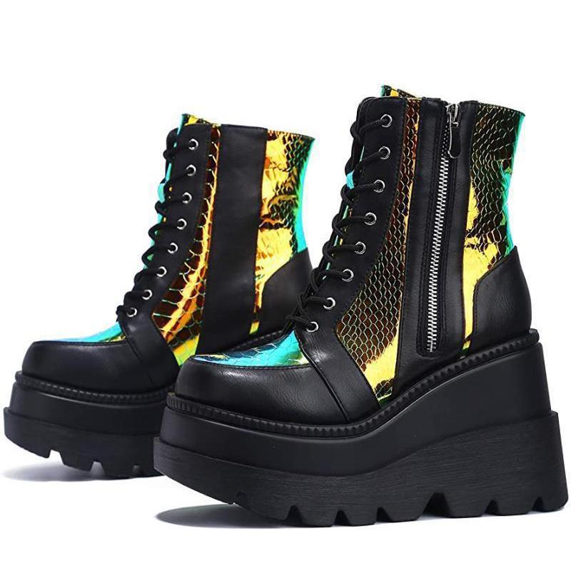 La nuova piattaforma femminile stivali delle signore di modo colorati cunei degli alti talloni della caviglia partito delle donne Stivali donna