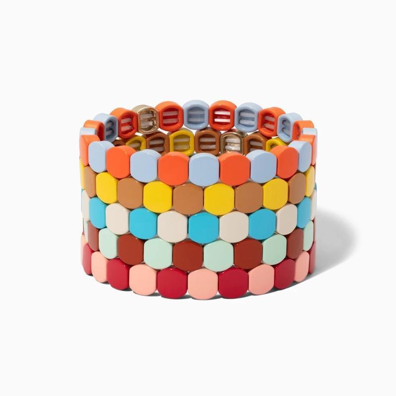 BD035 Persönlichkeit Bohemian geometrisches Muster Alloy schmerzt Mode Regenbogen-Emaille stapelbare elastische Frauen Schmuck