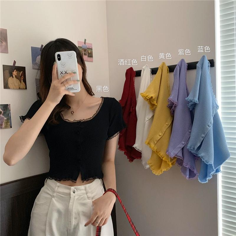 Women Patched Lace O-Neck Knitted Short Sleeve Thin Sweaters Cardigans Lady Single-breasted Buttons Sweater Crop Tops Female