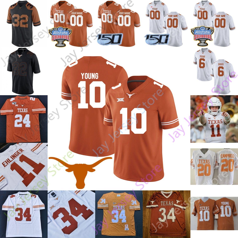 Texas Longhorns Football Jersey NCAA College Sam Ehlinger Keaontay Ingram Vince Young Roschon Johnson Devin Duvernay Mitchell Ossai Johnson