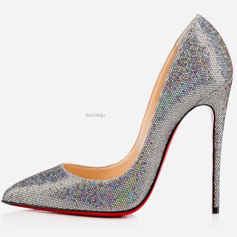 2020 inferiores rojos de tacón alto de la moda para bodas partido de las mujeres negras desnudas triples amarillo brillo picos rosados dedos apuntando Bombas zapatos de vestir B22