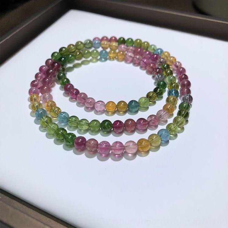 bIs3y arcobaleno tre cerchi braccialetto Candy arcobaleno tormalina braccialetto caramelle tormalina tre cerchi