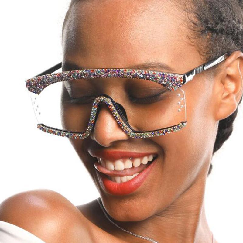 Gafas femeninas moda qpeclou lujo diamante sol gafas de sol mujeres marca de diseño de gran tamaño 2020 nuevo una pieza de sol gafas jkqqk