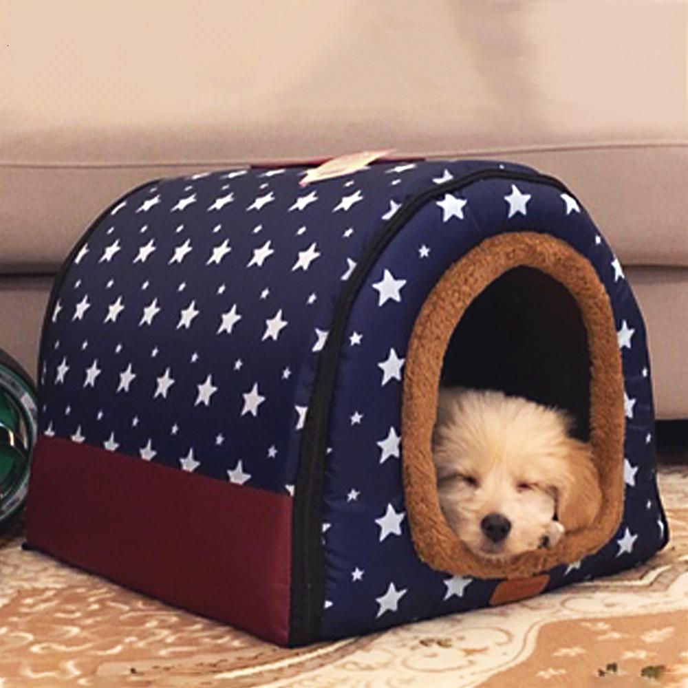 (S-L) Orta Köpek Kennel Kapalı Yumuşak Rahat Köpek Evi Çıkarılabilir Küçük Köpek Yatak Cave Kış Sıcak Pet Mat Taşınabilir Uyuyan