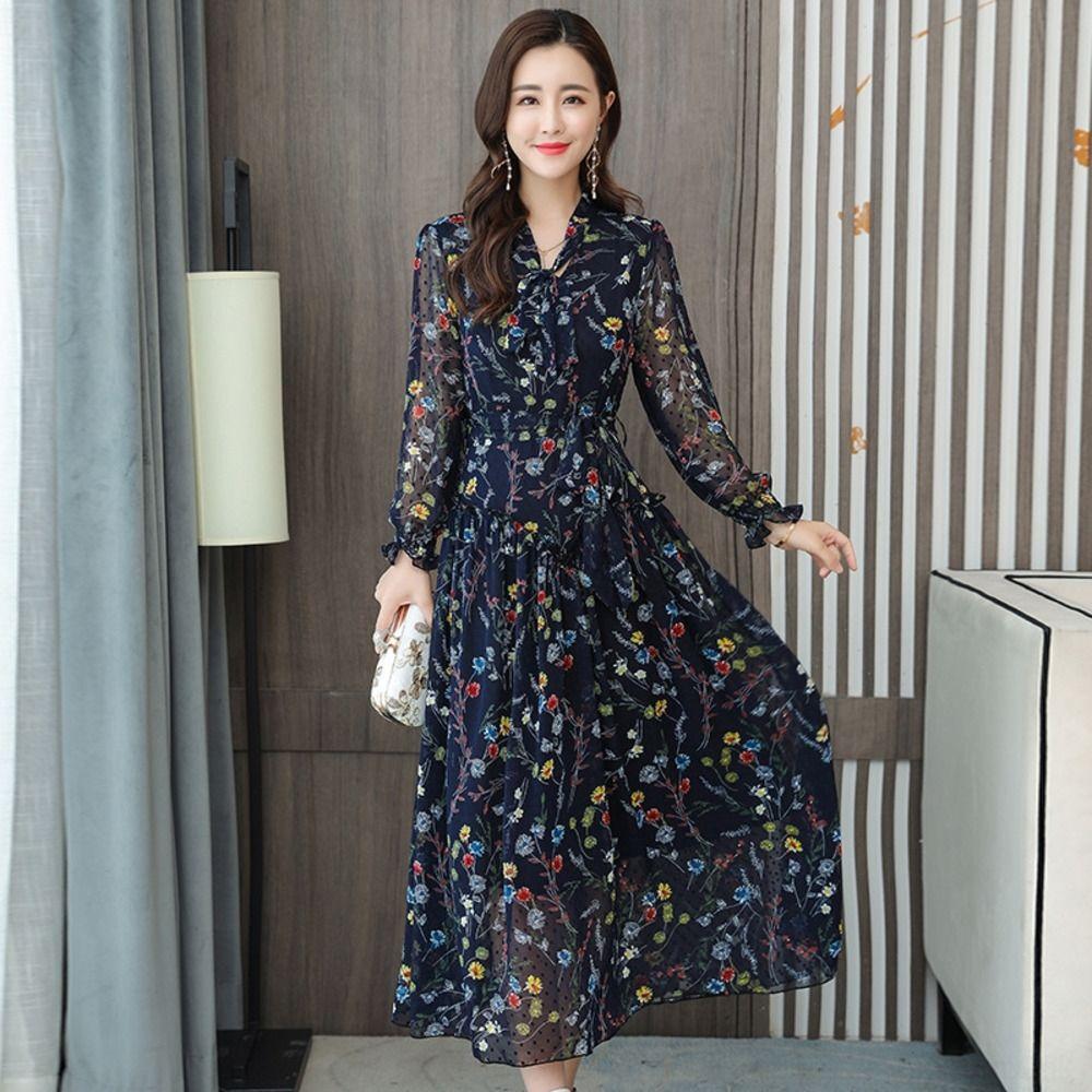 jwVR9 uHPts otoño nuevo vestido de gasa vestido de flores mitad de la longitud de las mujeres 2020 de manga larga de las mujeres elegantes