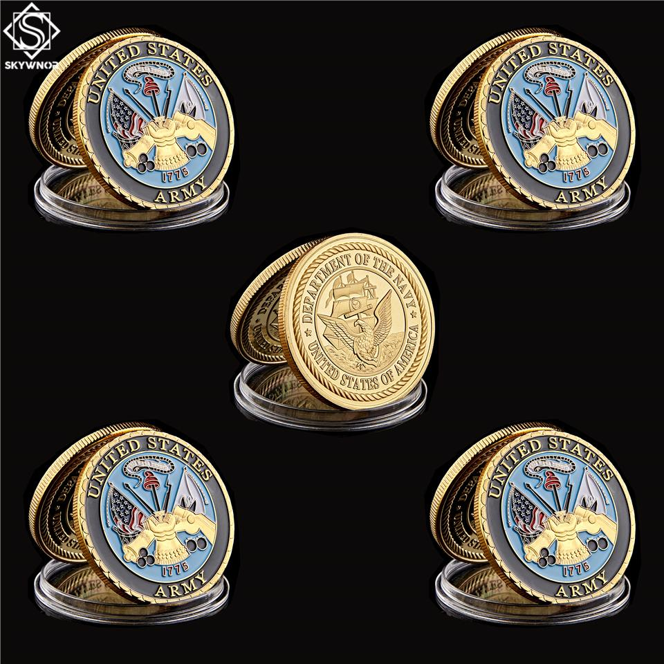 5pcs USA Departamento Militar de la Armada Marine Craft Corps Gold Challenge Coin Medallion Token Collection and Gifts
