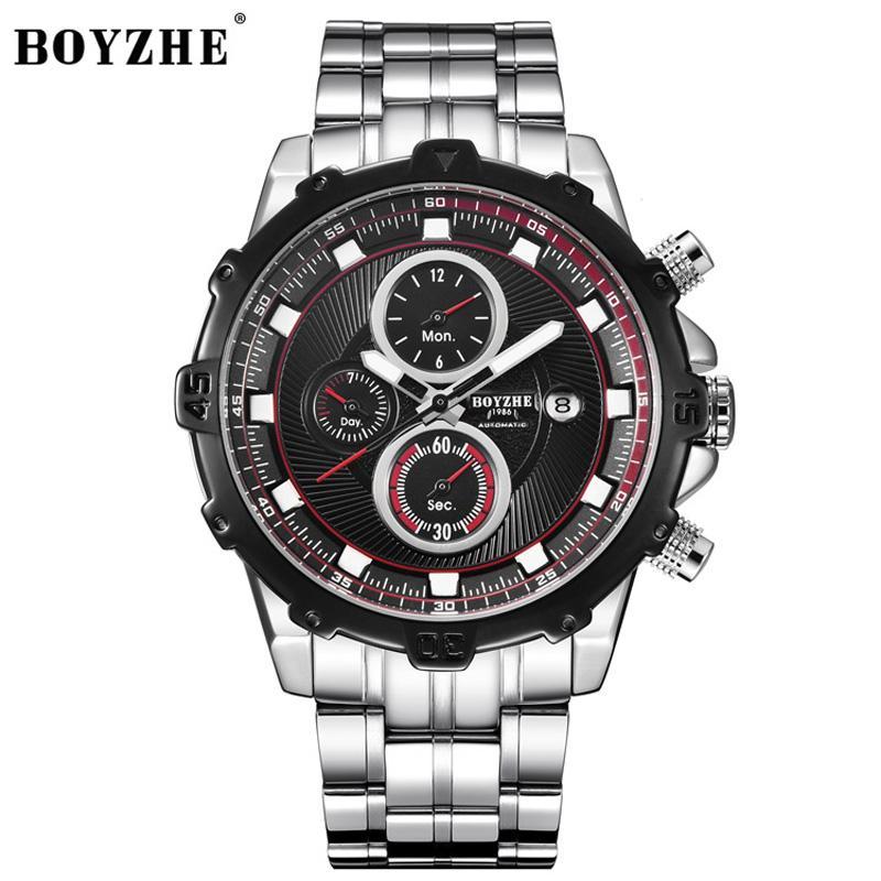 Наручные часы Бойже Модные Часы Мужчины Топ Автоматические механические Повседневные Водонепроницаемые Часы Relogio Masculino