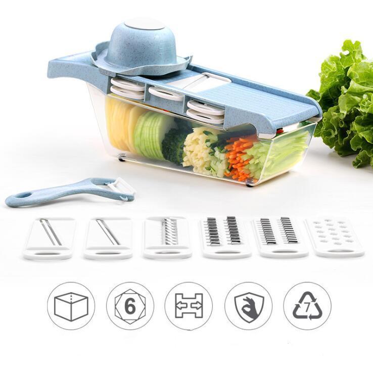 Taglio di verdure Tool Set multi-funzione tagliare le verdure Strumenti prosciutto salsiccia taglierina selettore rotante della frutta cetriolo Coltello Cucina Forniture DHC370