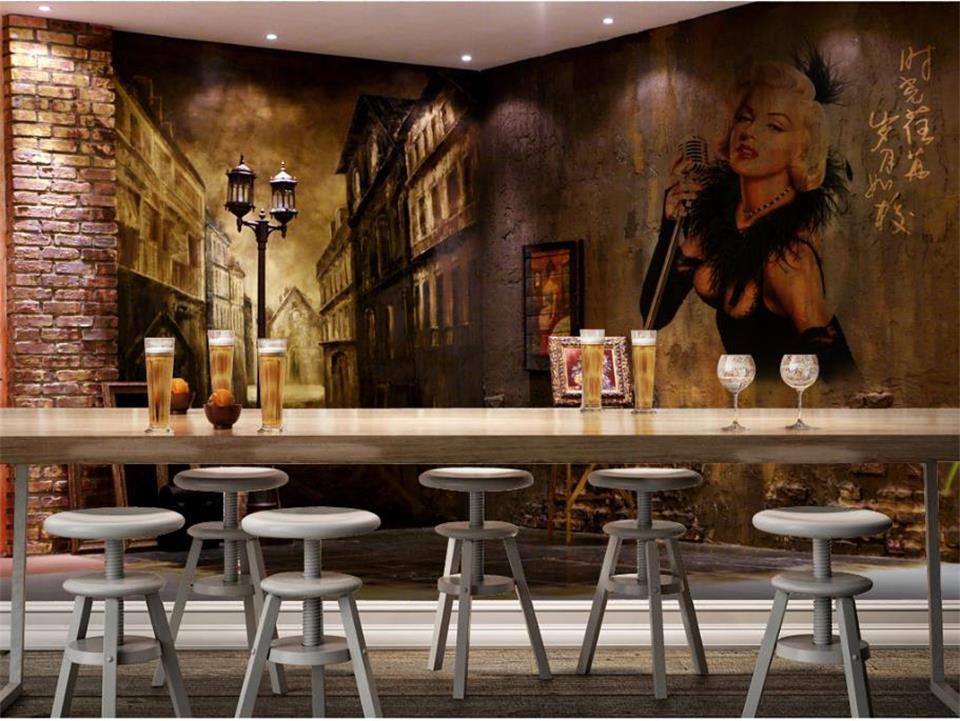Tamanho personalizado 3D Photo Wallpaper Sala Mural tijolo retro Rua pintura a óleo Imagem Mural Home Decor Creative Hotel Estudo Wallpaper 3D