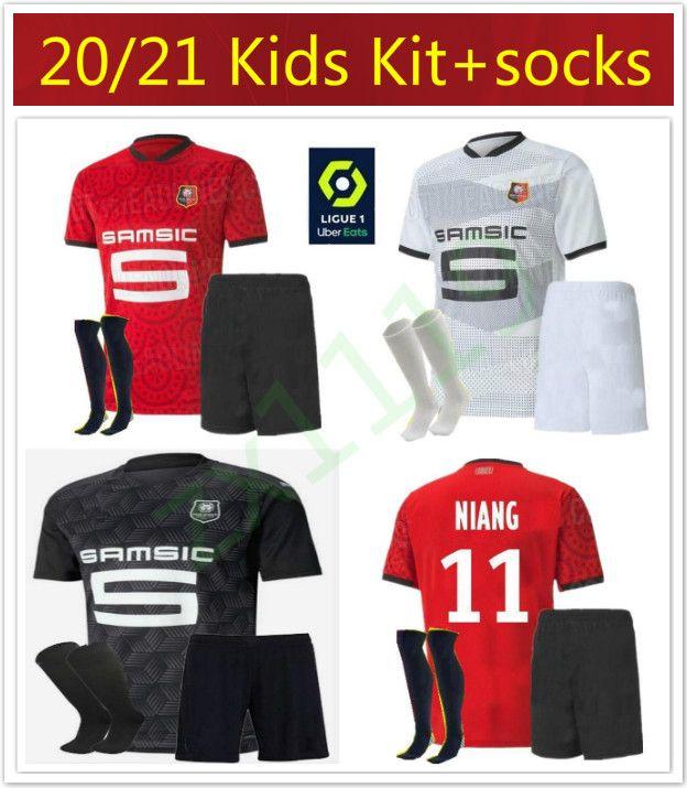 crianças kit 20 21 Rennes jérsei de futebol 2020 2021 Raphinha Niang Terrier J.MARTIN Stade Rennais FC Bourigeaud camisas de futebol de casa de distância