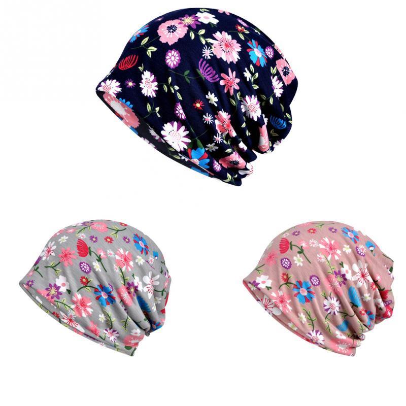Mütze / Schädelkappen Frauen Hut Headwear Baumwollmischung Kopfschal Super Weiche Slouchy Gedruckt Turban Wraps Schlaf Lightweight