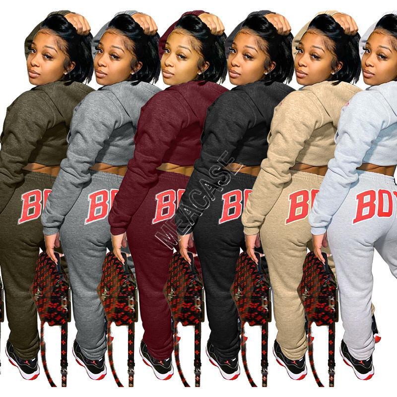 Женщины Tracksuit тела письма с длинными рукавами футболки Crop Top свитер с капюшоном руно Брюки Леггинсы двухкусочный Outfit Спортивный костюм D92302