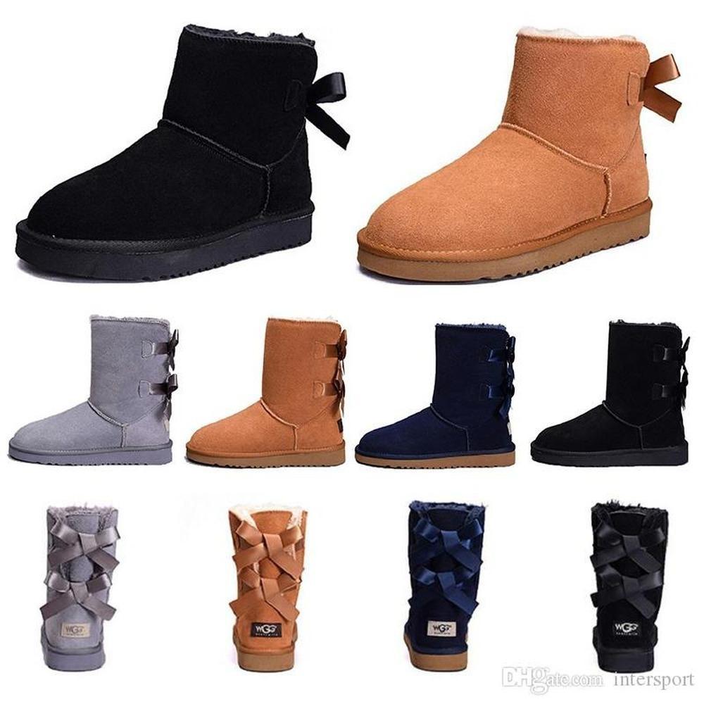 Mode Damenstiefel für Mädchen Short Mini Classic Knie Hoch Winter Schnee Stiefel Bailey Bow Ankle Bowtie Schwarz Grau Kastanie Größe 5-10