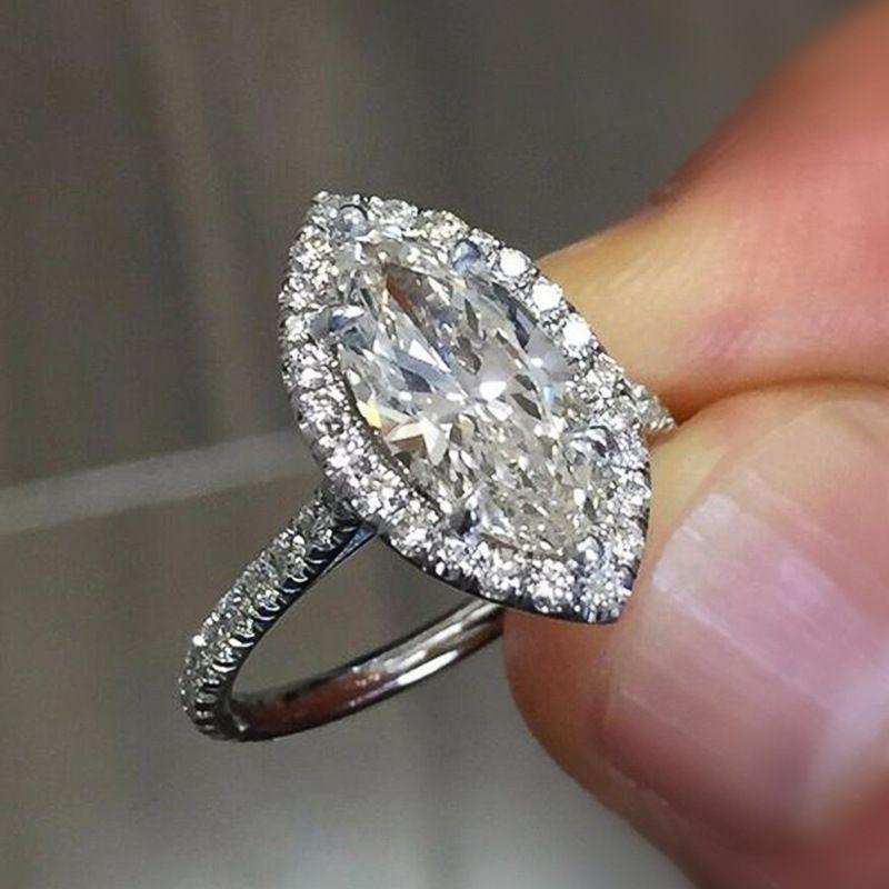 Iniziatura zircone a forma di matrimoni da donna a forma di marquise gioielli in argento colore grande cristallo pieno di strass anello di proposta di matrimonio