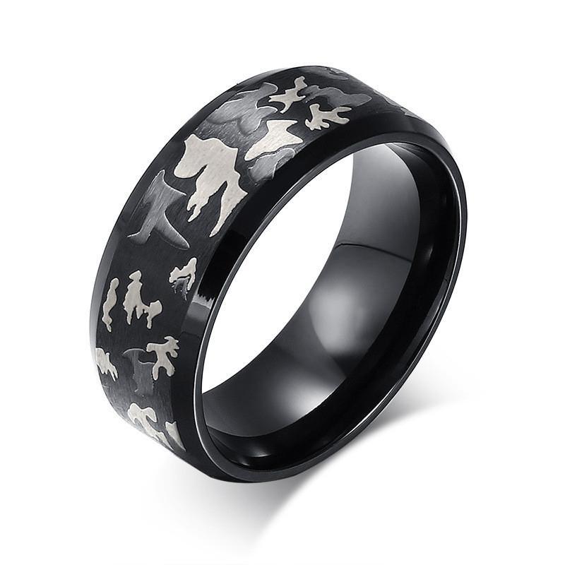 2020 New Classic Bague de haute qualité Noir Hommes Anneau militaire couleur camouflage anneaux en acier inoxydable