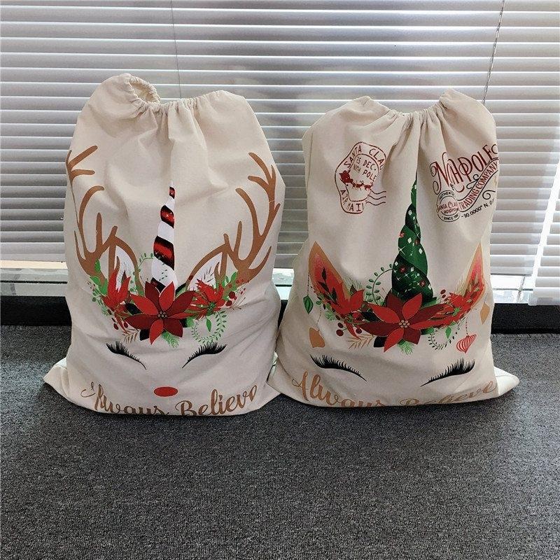 Presente de Natal do unicórnio cordão lona de Santa Sacks grande saco de doces sacos para crianças 08J0AS