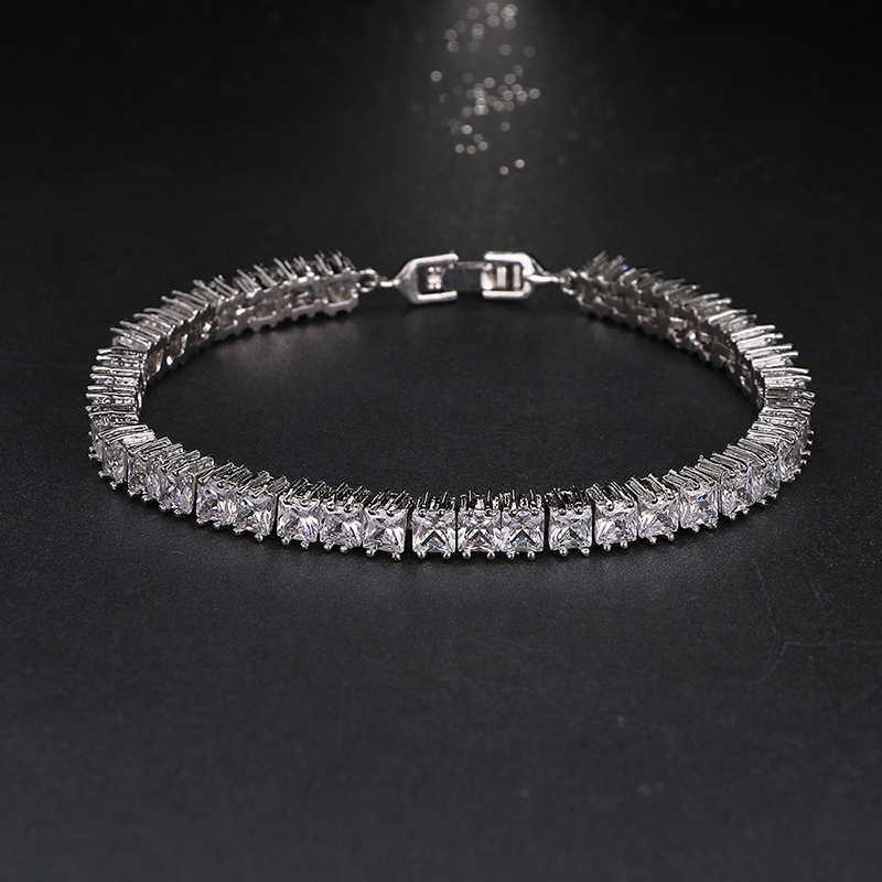 Shining 4mm Square Rhinestone CZ Women Bracelets Bangles For Anniversary Gifts Brilliant Charm Bracelet B-032