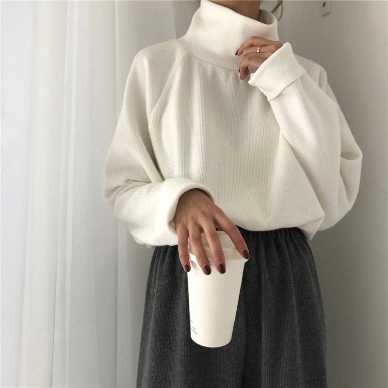 AECU11 Turtleneckstrickjacke Herbst Winter Strickpullover Frauen Pullover beiläufige lose lange Hülsen-Jacke Pullover weibliche 200921