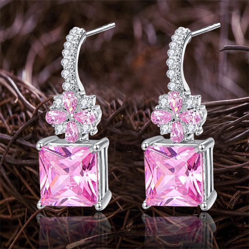 Lingmei Wedding Bridal Pink & White Cubic Zircon Silver Color Dangle Drop Earrings Flower Engagement Jewelry Girls