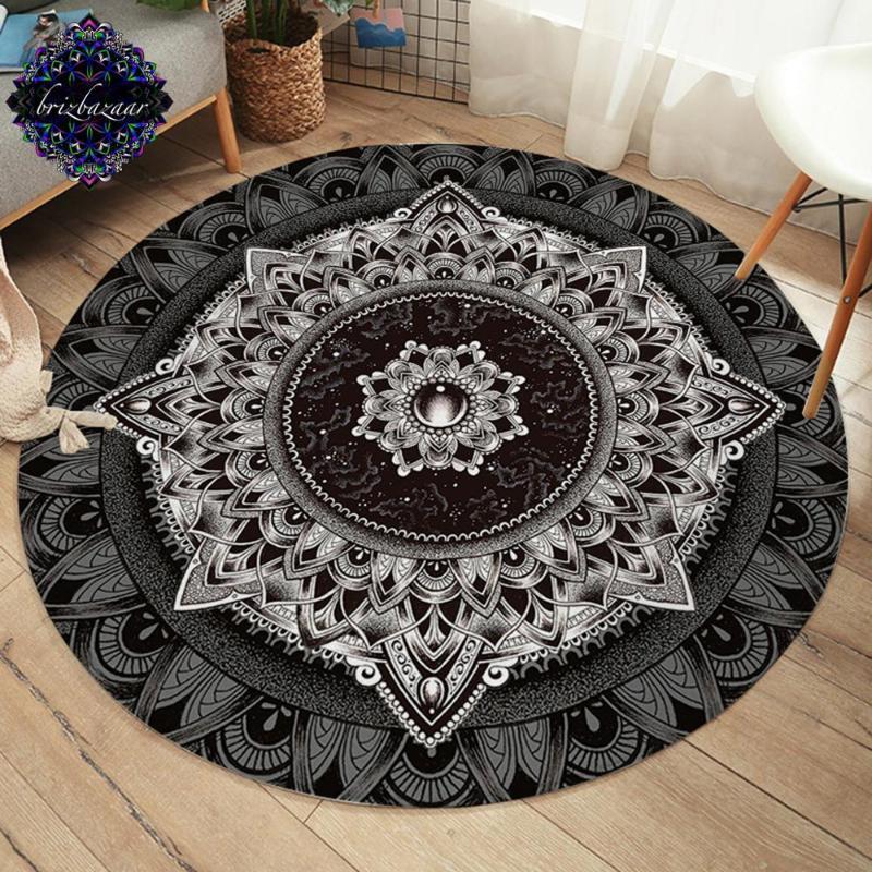 Mandala by Brizbazaar Round Carpet Flower Non-slip Floor MatMysterious Universe Area Rug Gemstone Boho tapetes para casa sala