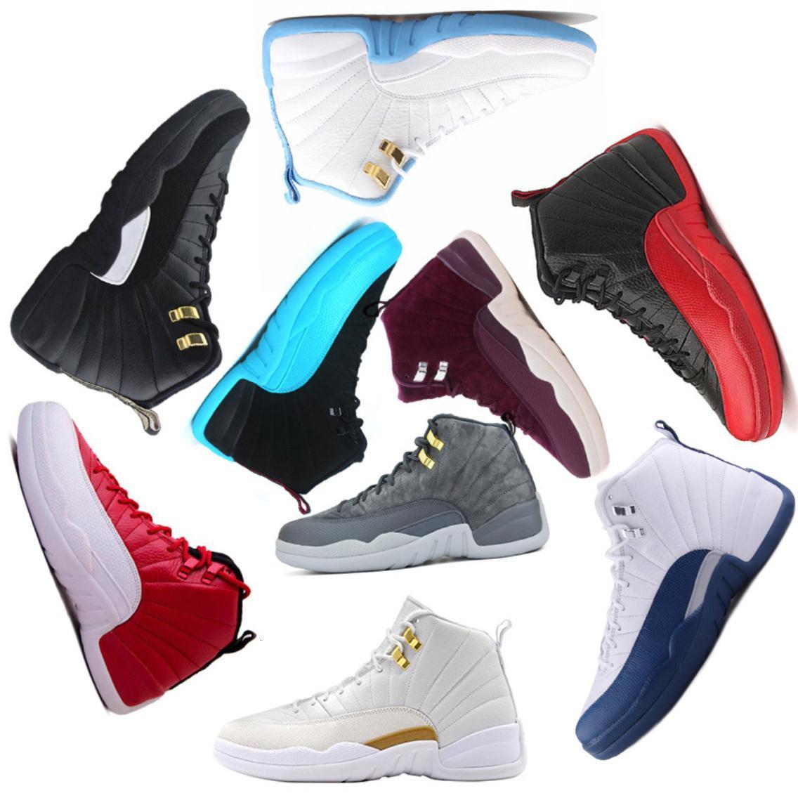 erkekler için toptan yeni basketbol ayakkabıları 12 12s Bordo Koyu Gri yün beyaz Grip Oyun UNC Spor taksi atletizm erkekler Spor eğitmen kırmızı