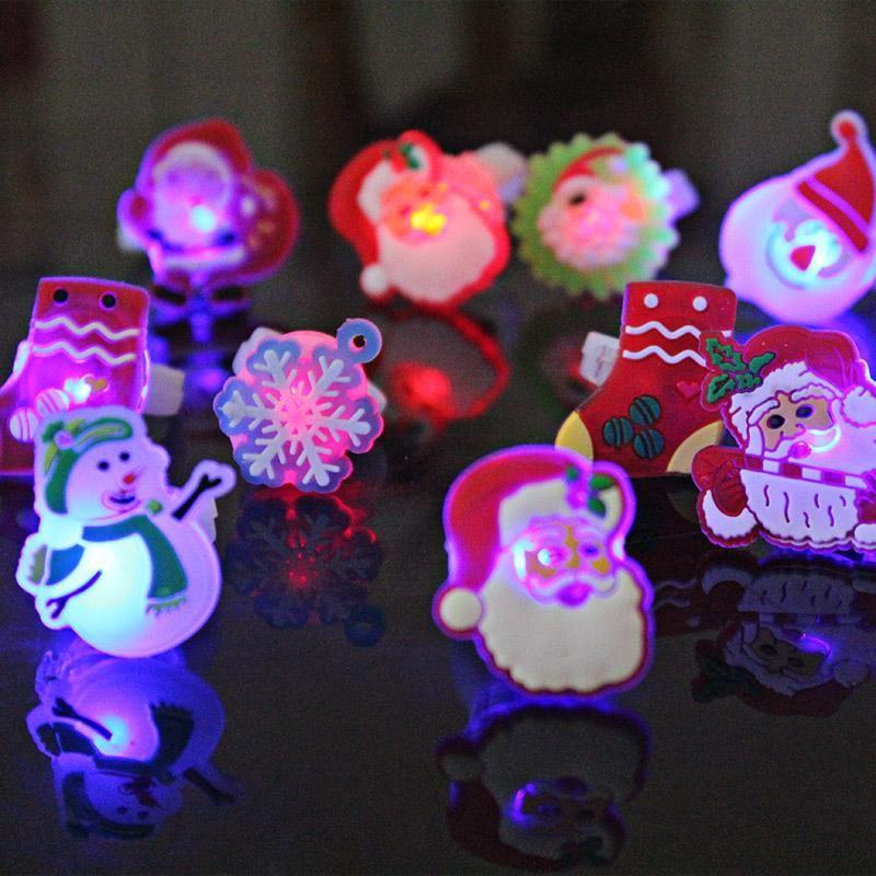 hijos de luz anillo animal de la historieta de Santa muñeco de nieve del anillo de destello llevada del dedo luz navidad resplandor resplandor juguete del partido de bricolaje decoración XD22695